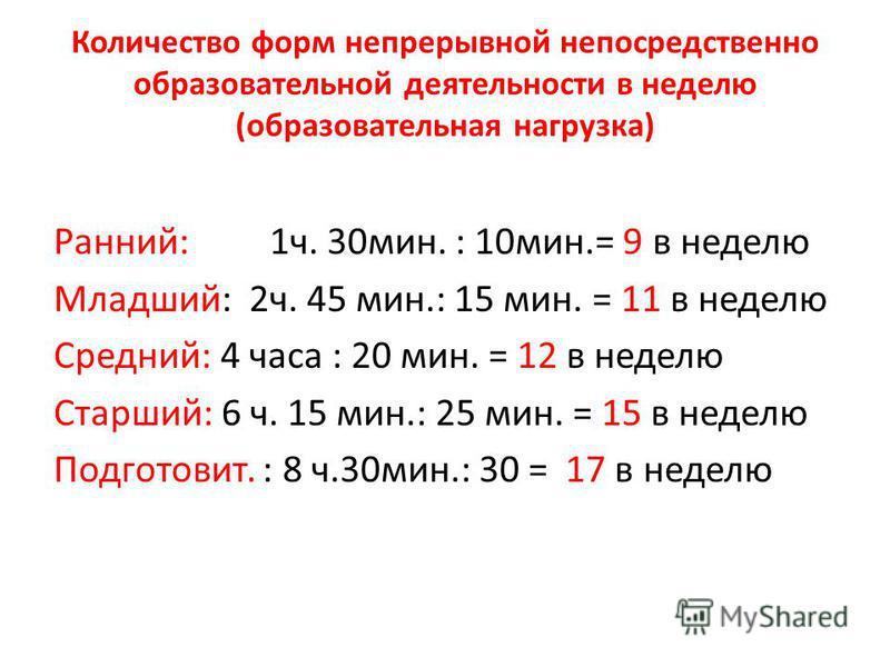 Количество форм непрерывной непосредственно образовательной деятельности в неделю (образовательная нагрузка) Ранний: 1 ч. 30 мин. : 10 мин.= 9 в неделю Младший: 2 ч. 45 мин.: 15 мин. = 11 в неделю Средний: 4 часа : 20 мин. = 12 в неделю Старший: 6 ч.