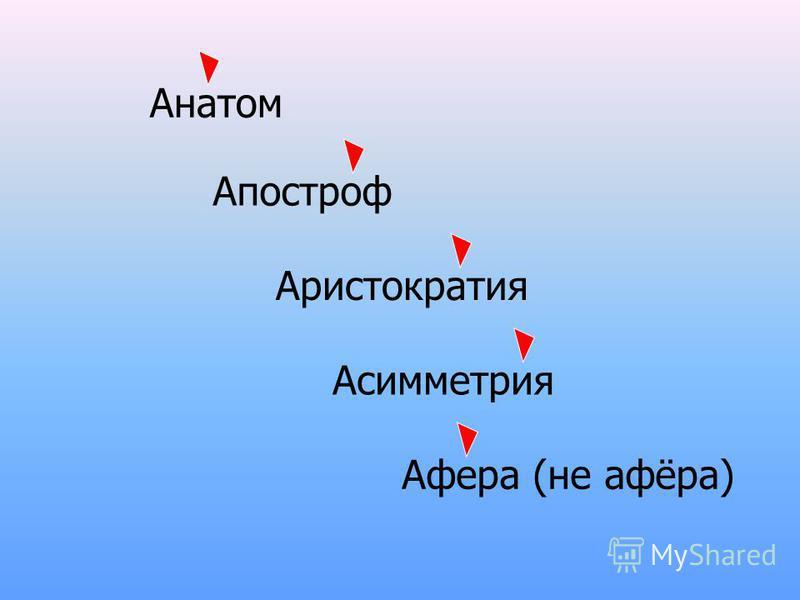 Анатом Апостроф Аристократия Асимметрия Афера (не афёра)