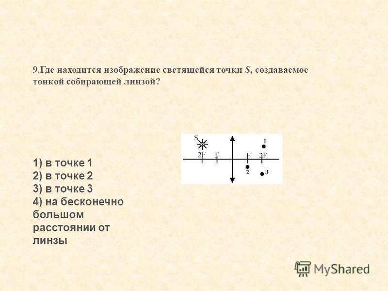 9. Где находится изображение светящейся точки S, создаваемое тонкой собирающей линзой? 1) в точке 1 2) в точке 2 3) в точке 3 4) на бесконечно большом расстоянии от линзы