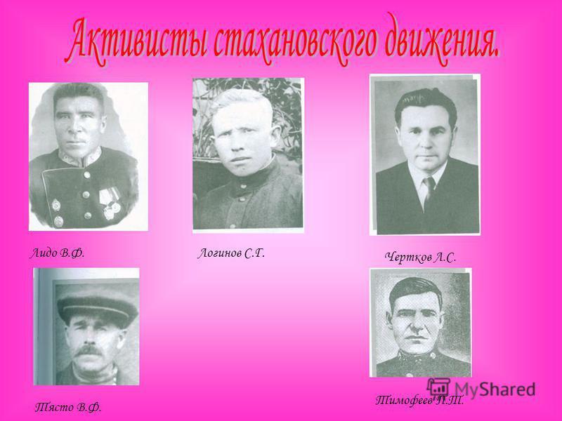 Лидо В.Ф.Логинов С.Г. Чертков Л.С. Тясто В.Ф. Тимофеев П.Т.