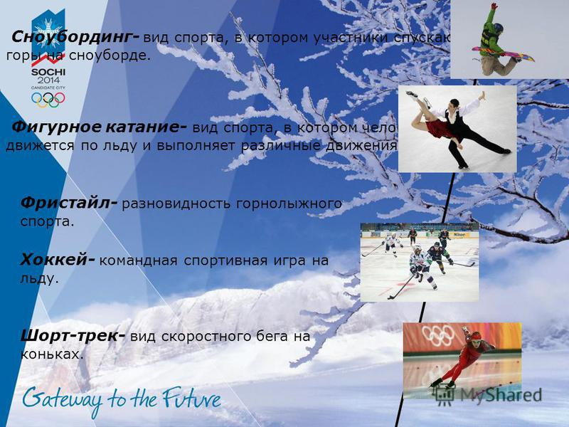 Сноубординг- вид спорта, в котором участники спускаются с горы на сноуборде. Фигурное катание- вид спорта, в котором человек движется по льду и выполняет различные движения. Фристайл- разновидность горнолыжного спорта. Хоккей- командная спортивная иг