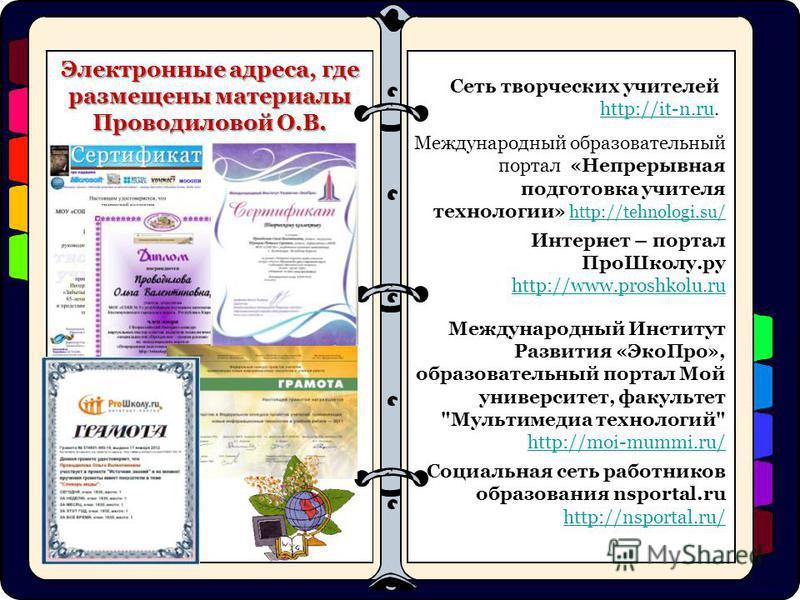 Сеть творческих учителей http://it-n.ru. http://it-n.ru Международный образовательный портал «Непрерывная подготовка учителя технологии» http://tehnologi.su/ http://tehnologi.su/ Интернет – портал Про Школу.ру http://www.proshkolu.ru Международный Ин