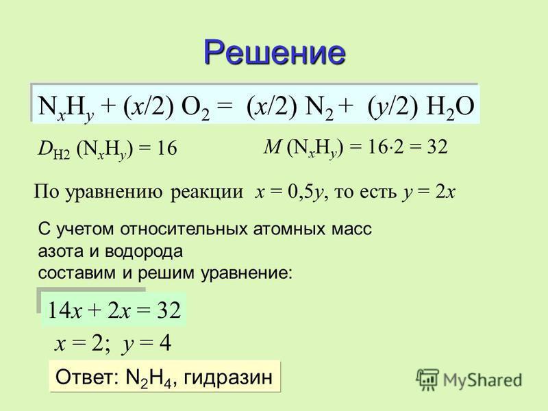 Разберем задачу… При полном сжигании вещества, не содержащего кислорода, образуются азот и вода.При полном сжигании вещества, не содержащего кислорода, образуются азот и вода. Относительная плотность паров этого вещества по водороду равна 16. Объем н