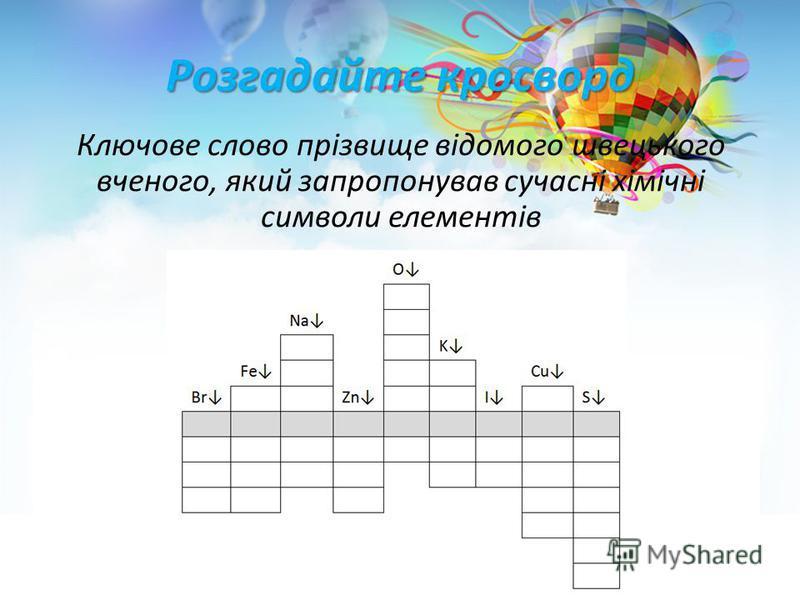 Розгадайте кросворд Ключове слово прізвище відомого швецького вченого, який запропонував сучасні хімічні символи елементів