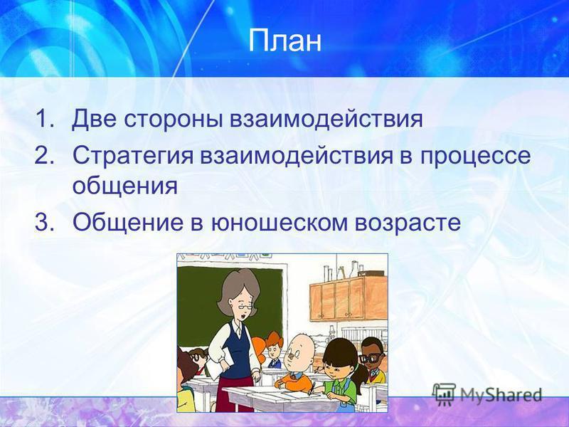 План 1. Две стороны взаимодействия 2. Стратегия взаимодействия в процессе общения 3. Общение в юношеском возрасте