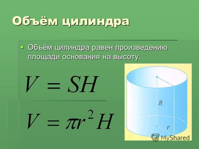 Объём цилиндра равен произведению площади основания на высоту. Объём цилиндра равен произведению площади основания на высоту.