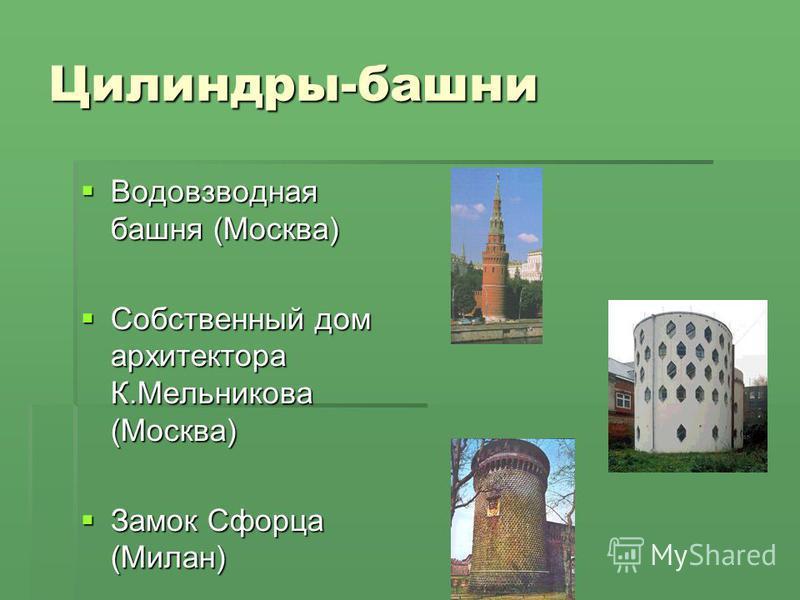 Цилиндры-башни Водовзводная башня (Москва) Собственный дом архитектора К.Мельникова (Москва) Замок Сфорца (Милан)