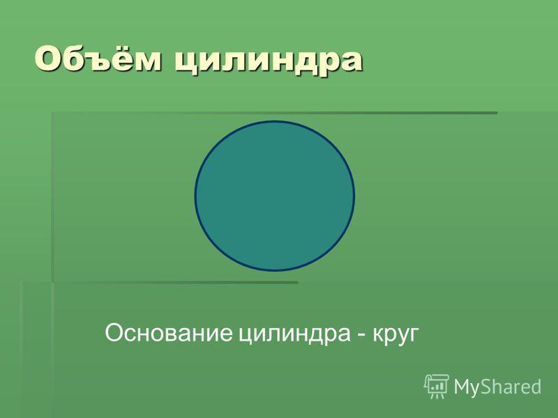 Объём цилиндра Основание цилиндра - круг