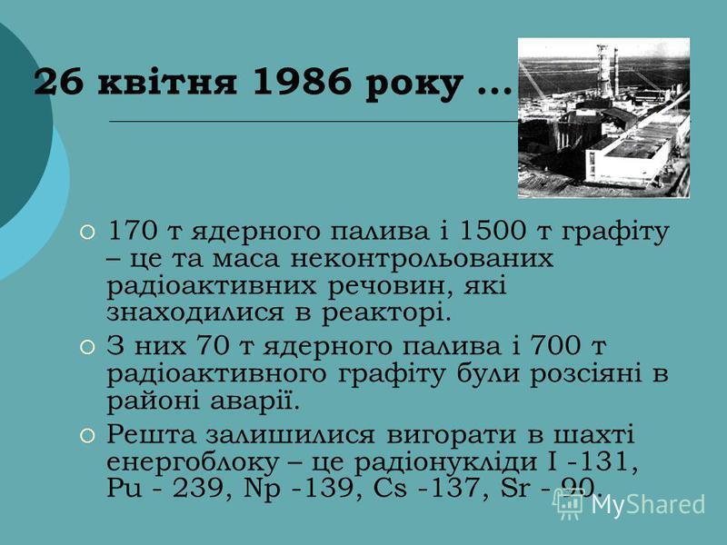 26 квітня 1986 року... 170 т ядерного палива і 1500 т графіту – це та маса неконтрольованих радіоактивних речовин, які знаходилися в реакторі. З них 70 т ядерного палива і 700 т радіоактивного графіту були розсіяні в районі аварії. Решта залишилися в