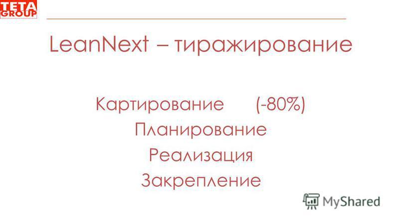LeanNext – тиражирование Картирование (-80%) Планирование Реализация Закрепление