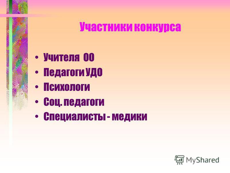 Участники конкурса Учителя ОО Педагоги УДО Психологи Соц. педагоги Специалисты - медики