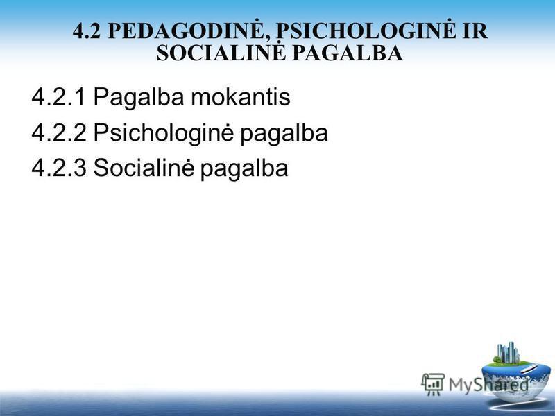4.2.1 Pagalba mokantis 4.2.2 Psichologinė pagalba 4.2.3 Socialinė pagalba 4.2 PEDAGODINĖ, PSICHOLOGINĖ IR SOCIALINĖ PAGALBA