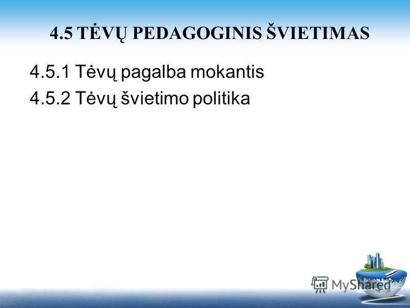 4.5.1 Tėvų pagalba mokantis 4.5.2 Tėvų švietimo politika 4.5 TĖVŲ PEDAGOGINIS ŠVIETIMAS