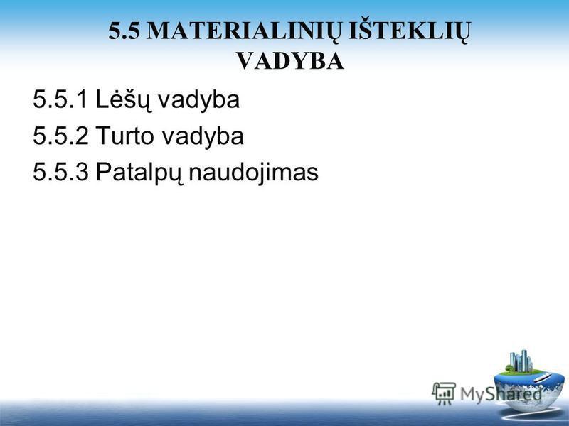 5.5.1 Lėšų vadyba 5.5.2 Turto vadyba 5.5.3 Patalpų naudojimas 5.5 MATERIALINIŲ IŠTEKLIŲ VADYBA