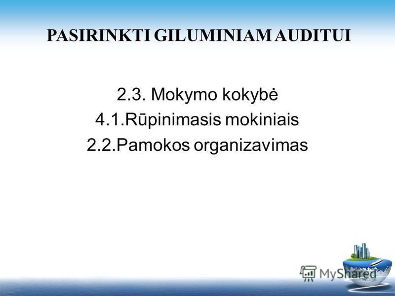 PASIRINKTI GILUMINIAM AUDITUI 2.3. Mokymo kokybė 4.1.Rūpinimasis mokiniais 2.2.Pamokos organizavimas