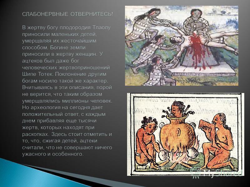 Пища богов По верованиям ацтеков человеческая кровь являлась пищей богов, и поэтому ч ем б ольше людей, именно людей, а н е животных, повергалось н а алтарь, т ем добрее к ацтекам должен был быть б ог. В будни, н е говоря у же о праздниках, на алтарь
