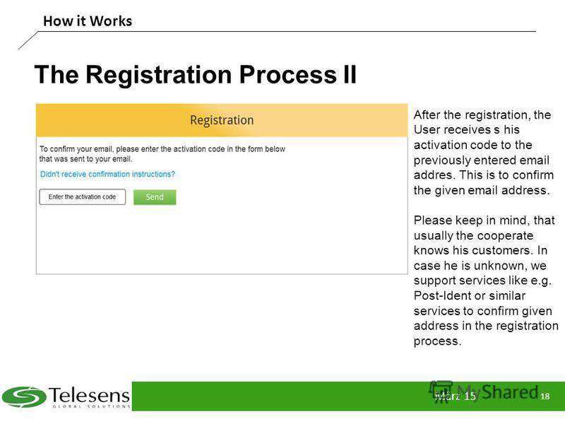 The Registration Process II März 15 18 How it Works After the registration, the User receives s his activation code to the previously entered email addres. This is to confirm the given email address. Please keep in mind, that usually the cooperate kn