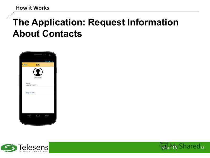 The Application: Request Information About Contacts März 15 35 How it Works
