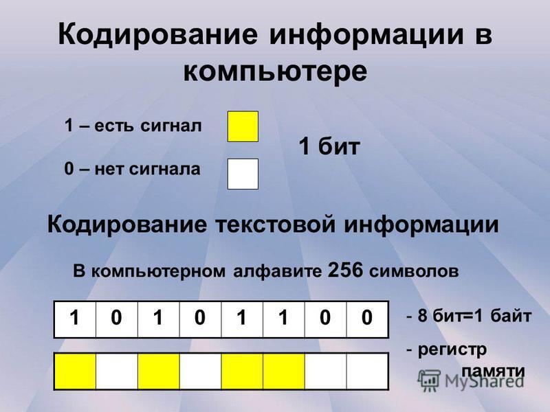 Кодирование информации в компьютере 1 – есть сигнал 0 – нет сигнала В компьютерном алфавите 256 символов 10101100 Кодирование текстовой информации - 8 бит=1 байт - регистр памяти 1 бит