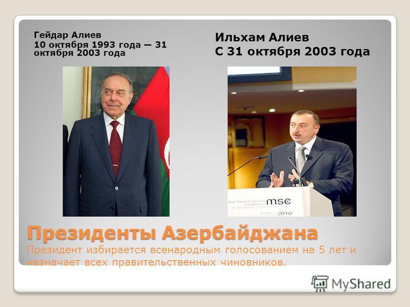 Президенты Азербайджана Президенты Азербайджана Президент избирается всенародным голосованием на 5 лет и назначает всех правительственных чиновников. Гейдар Алиев 10 октября 1993 года 31 октября 2003 года Ильхам Алиев С 31 октября 2003 года