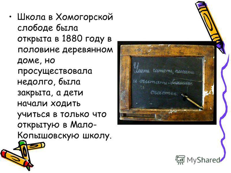 Школа в Хомогорской слободе была открыта в 1880 году в половине деревянном доме, но просуществовала недолго, была закрыта, а дети начали ходить учиться в только что открытую в Мало- Копышовскую школу.