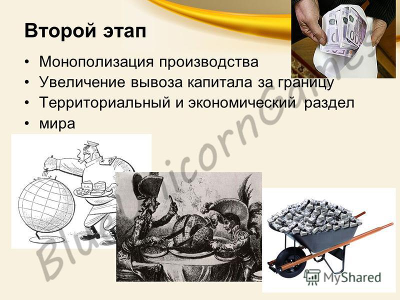 Второй этап Монополизация производства Увеличение вывоза капитала за границу Территориальный и экономический раздел мира