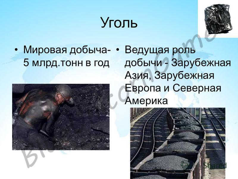 Уголь Мировая добыча- 5 млрд.тонн в год Ведущая роль добычи - Зарубежная Азия, Зарубежная Европа и Северная Америка