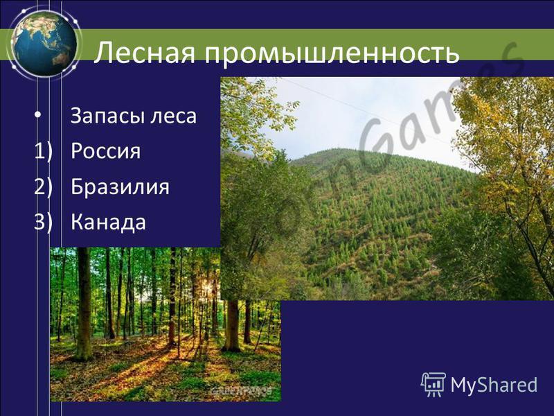 Лесная промышленность Запасы леса 1)Россия 2)Бразилия 3)Канада