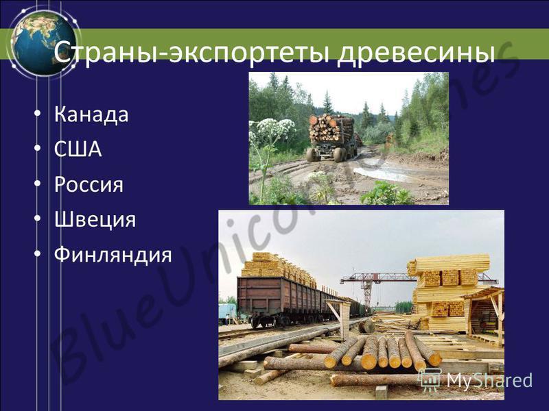Страны-экспортеры древесины Канада США Россия Швеция Финляндия