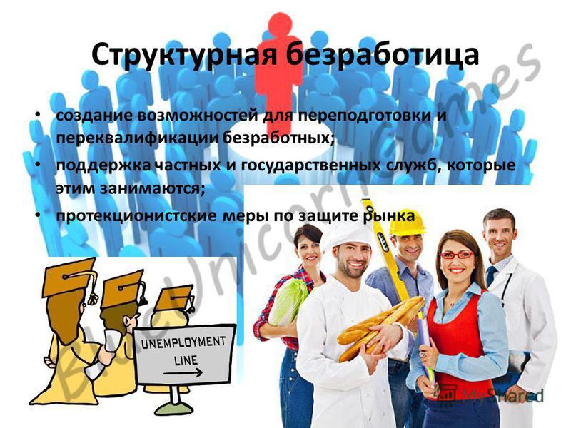 Структурная безработица создание возможностей для переподготовки и переквалификации безработных; поддержка частных и государственных служб, которые этим занимаются; протекционистские меры по защите рынка
