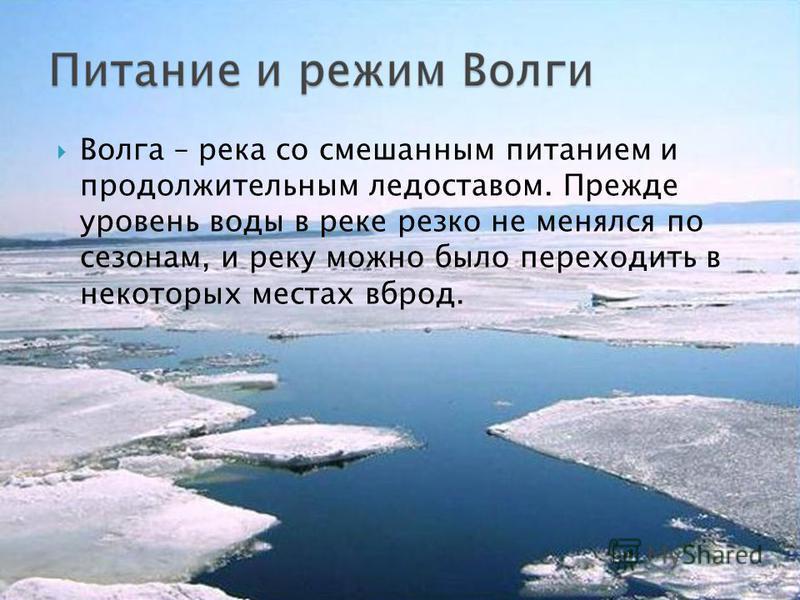 Волга – река со смешанным питанием и продолжительным ледоставом. Прежде уровень воды в реке резко не менялся по сезонам, и реку можно было переходить в некоторых местах вброд.