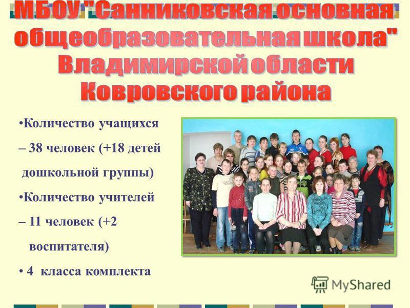 Количество учащихся – 38 человек (+18 детей дошкольной группы) Количество учителей – 11 человек (+2 воспитателя) 4 класса комплекта
