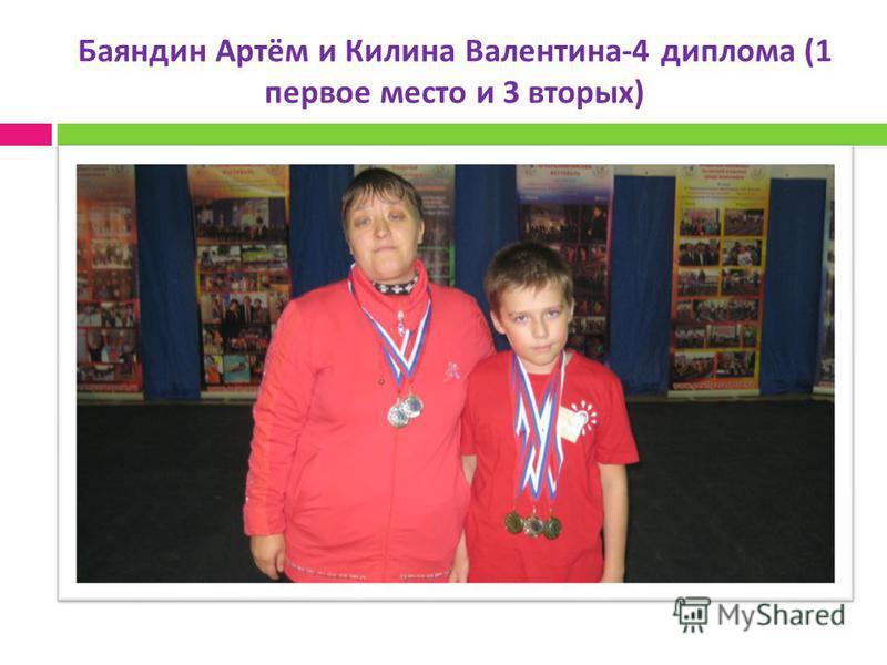 Баяндин Артём и Килина Валентина -4 диплома (1 первое место и 3 вторых )