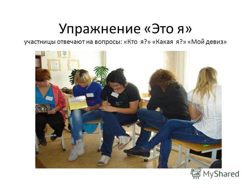 Упражнение «Это я» участницы отвечают на вопросы: «Кто я?» «Какая я?» «Мой девиз»