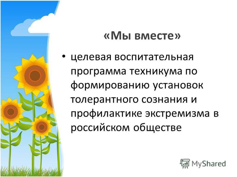 «Мы вместе» целевая воспитательная программа техникума по формированию установок толерантного сознания и профилактике экстремизма в российском обществе