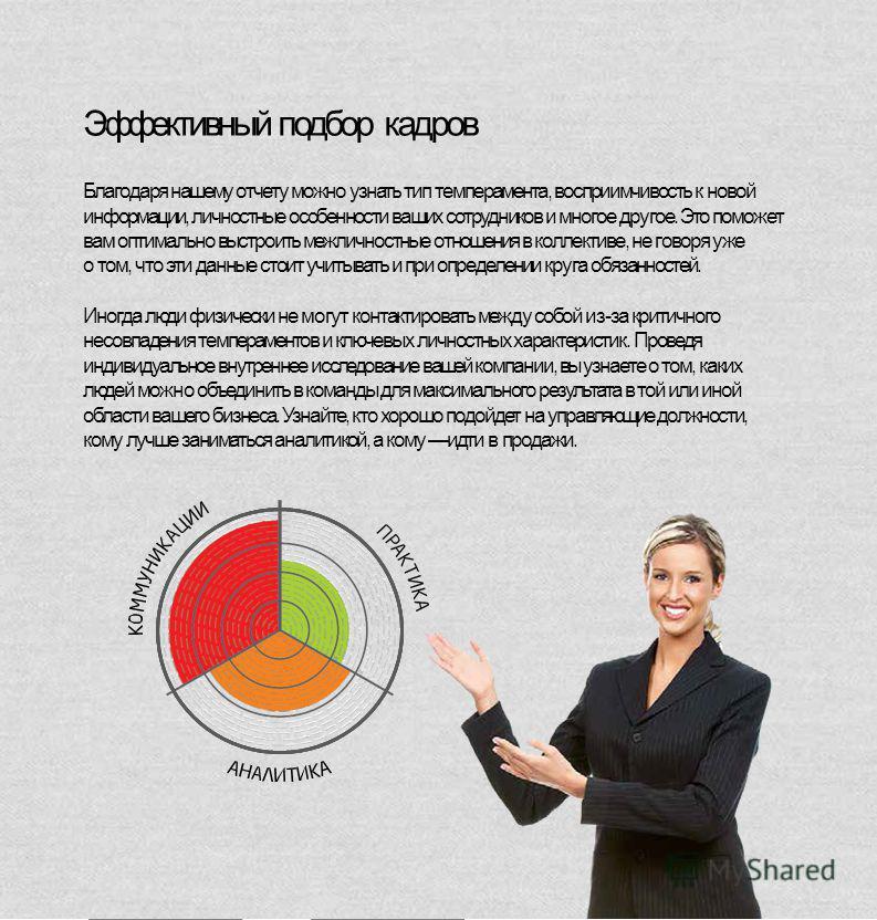 Эффективный подбор кадров Благодаря нашему отчету можно узнать тип темперамента, восприимчивость к новой информации, личностные особенности ваших сотрудников и многое другое. Это поможет вам оптимально выстроить межличностные отношения в коллективе,