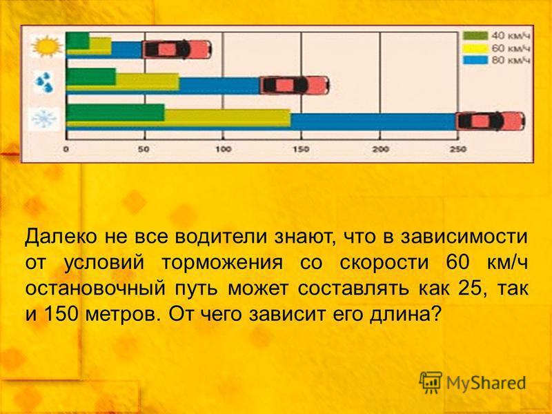 Далеко не все водители знают, что в зависимости от условий торможения со скорости 60 км/ч остановочный путь может составлять как 25, так и 150 метров. От чего зависит его длина?