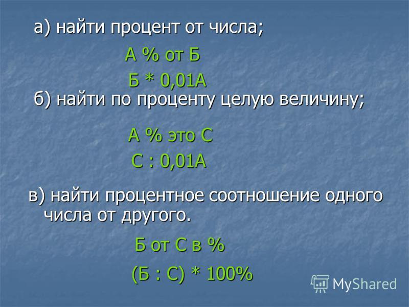 а) найти процент от числа; а) найти процент от числа; б) найти по проценту целую величину; б) найти по проценту целую величину; в) найти процентное соотношение одного числа от другого. А % от Б Б * 0,01А А % это С С : 0,01А Б от С в % (Б : С) * 100%