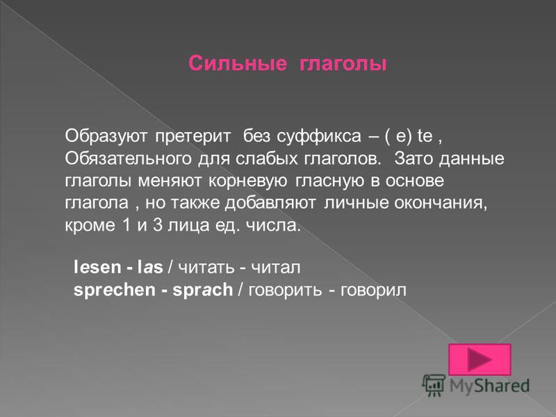 Сильные глаголы Образуют претерит без суффикса – ( e) te, Обязательного для слабых глаголов. Зато данные глаголы меняют корневую гласную в основе глагола, но также добавляют личные окончания, кроме 1 и 3 лица ед. числа. lesen - las / читать - читал s