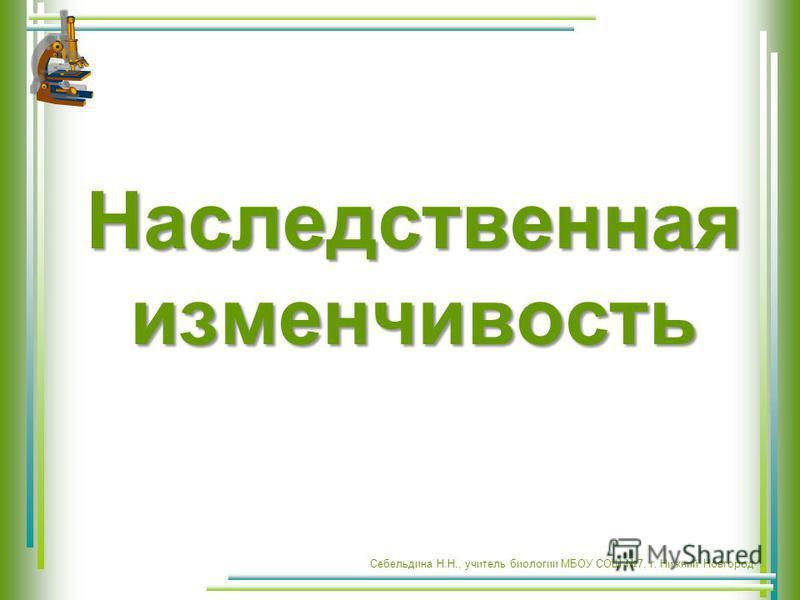 Наследственная изменчивость Себельдина Н.Н., учитель биологии МБОУ СОШ 7, г. Нижний Новгород