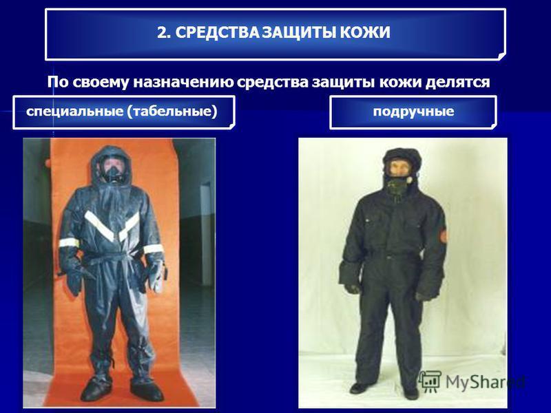 2. СРЕДСТВА ЗАЩИТЫ КОЖИ По своему назначению средства защиты кожи делятся специальные (табельные) подручные