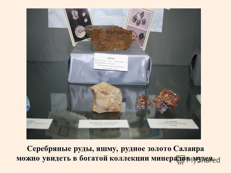 Серебряные руды, яшму, рудное золото Салаира можно увидеть в богатой коллекции минералов музея.