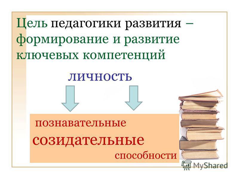 Цель педагогики развития – формирование и развитие ключевых компетенций личность познавательные созидательные способности