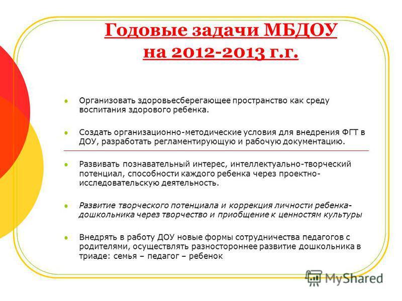 Годовые задачи МБДОУ на 2012-2013 г.г. Организовать здоровьесберегающее пространство как среду воспитания здорового ребенка. Создать организационно-методические условия для внедрения ФГТ в ДОУ, разработать регламентирующую и рабочую документацию. Раз