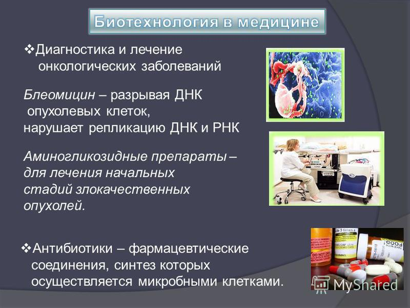 Диагностика и лечение онкологических заболеваний Блеомицин – разрывая ДНК опухолевых клеток, нарушает репликацию ДНК и РНК Аминогликозидные препараты – для лечения начальных стадий злокачественных опухолей. Антибиотики – фармацевтические соединения,