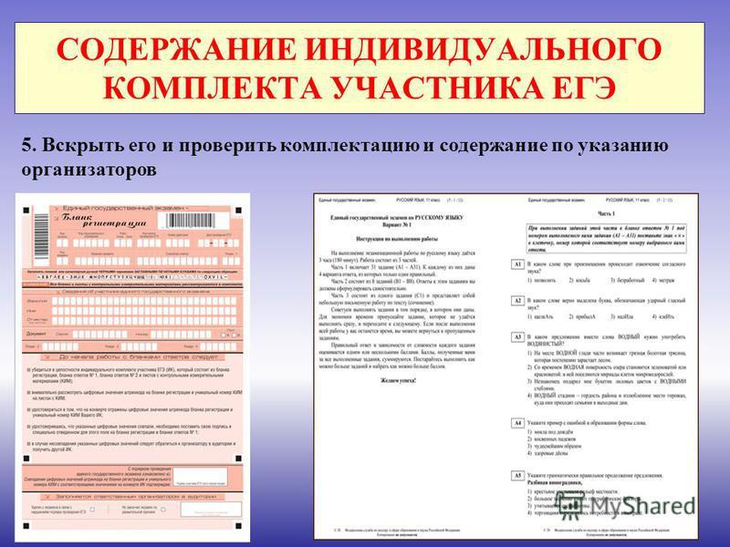 СОДЕРЖАНИЕ ИНДИВИДУАЛЬНОГО КОМПЛЕКТА УЧАСТНИКА ЕГЭ 5. Вскрыть его и проверить комплектацию и содержание по указанию организаторов