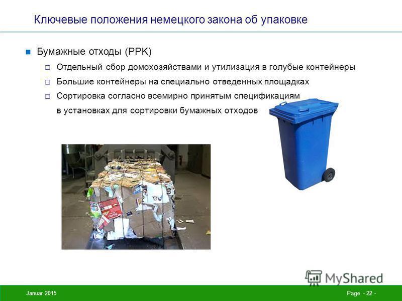 Januar 2015Page - 22 - Ключевые положения немецкого закона об упаковке Бумажные отходы (PPK) Отдельный сбор домохозяйствами и утилизация в голубые контейнеры Большие контейнеры на специально отведенных площадках Сортировка согласно всемирно принятым