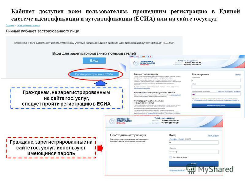 Кабинет доступен всем пользователям, прошедшим регистрацию в Единой системе идентификации и аутентификации (ЕСИА) или на сайте госуслуг. Гражданам, не зарегистрированным на сайте гос. услуг, следует пройти регистрацию в ЕСИА Граждане, зарегистрирован