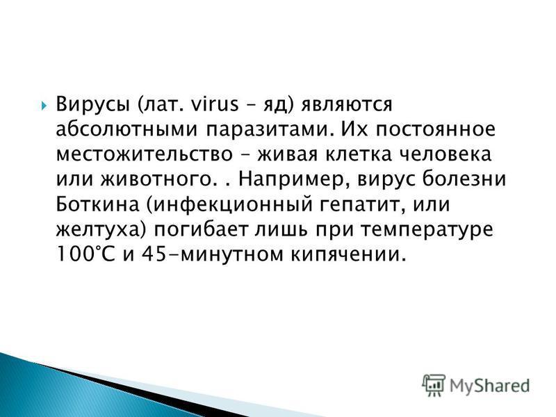 Вирусы (лат. virus – яд) являются абсолютными паразитами. Их постоянное местожительство – живая клетка человека или животного.. Например, вирус болезни Боткина (инфекционный гепатит, или желтуха) погибает лишь при температуре 100°С и 45-минутном кипя