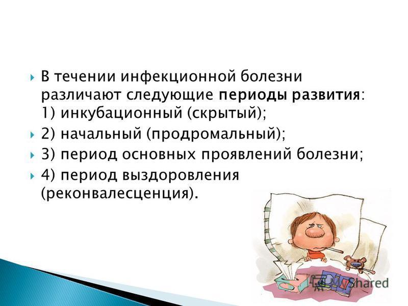 В течении инфекционной болезни различают следующие периоды развития: 1) инкубационный (скрытый); 2) начальный (продромальный); 3) период основных проявлений болезни; 4) период выздоровления (реконвалесценция).